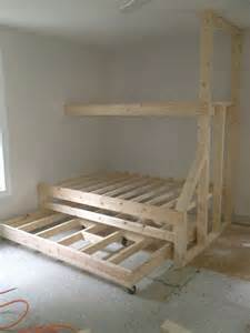 Built In Bunk Bed Plans Built In Bunk Beds With Trundle Bed Gives Plenty Of Sleeping Spaces Without Taking Up Much