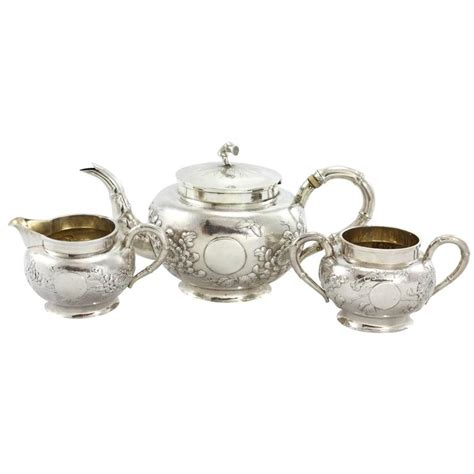 Teapot Ls For Sale by Early 20th Century Three Export Silver Tea