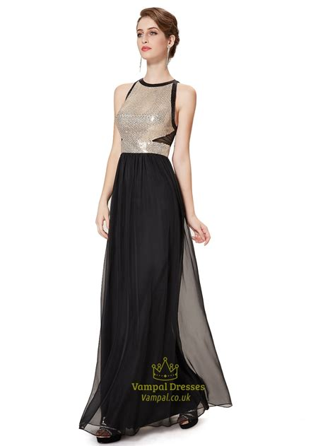 floor length black dress black chiffon floor length prom dress with sequin