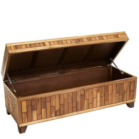 Wood Storage Ottoman Bench Luca Wood Storage Ottoman Bench