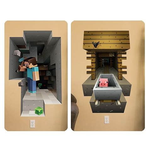 minecraft wall mural minecraft mining and mineshaft wall clings decal set