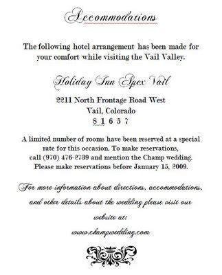 wedding invitation insert wording exle the invite accommodations insert weddingbee