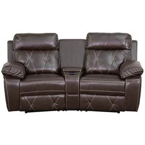 reel comfort series 2 seat reclining brown leather theater