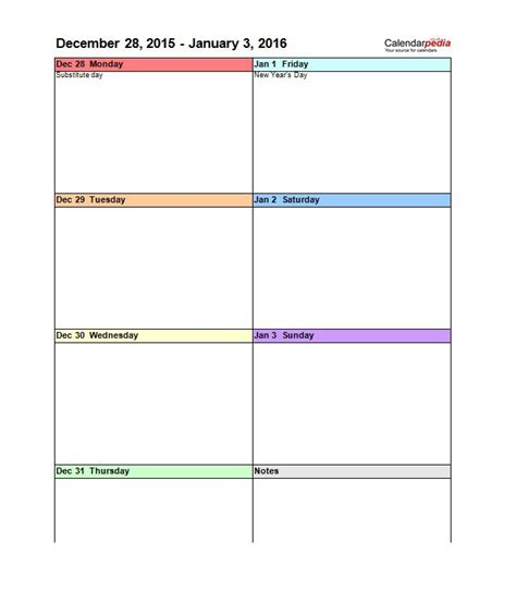 Blank Printable Weekly Schedule Template