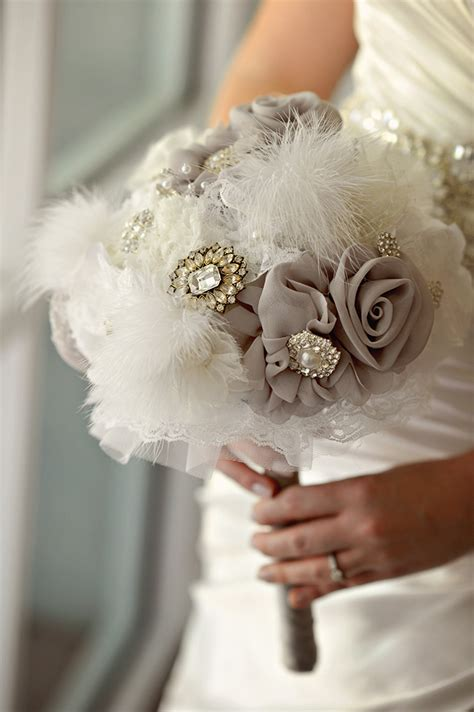 Handmade Bridal Bouquets - a handmade vintage glam wedding grace