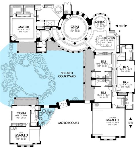floor plan with courtyard in middle of the house courtyard house plan with casita 16313md architectural