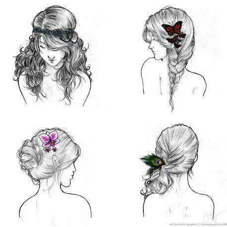 pretty hairstyles drawing hairstyle draws image 2697218 by lady d on favim com