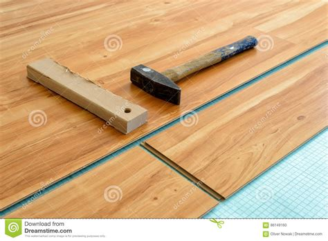 laying of parquet floor stock photo image 86149160