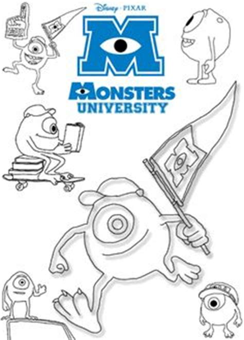 coloring pages monster university monsters university mike cheering with flag and glove