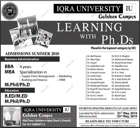 Mba In Iqra In Karachi by Iqra Admission Summer 2010 2018