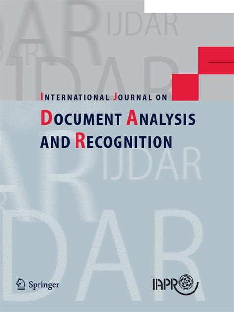 international journal of pattern recognition and image analysis impact factor iapr international journal on document analysis