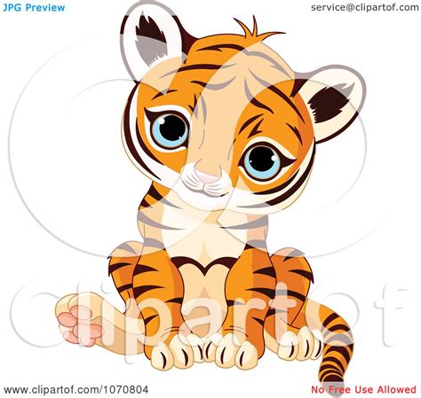 clipart cute sitting baby tiger royalty free vector