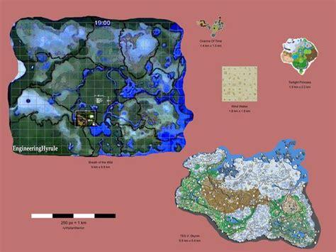 legend of zelda map size the legend of zelda breath of the wild vs skyrim map
