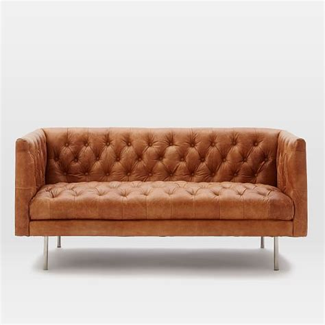 modern leather chesterfield sofa modern chesterfield leather loveseat west elm