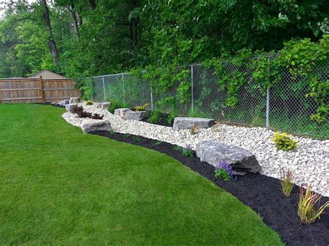 backdrop garden   river rock black beauty mulch