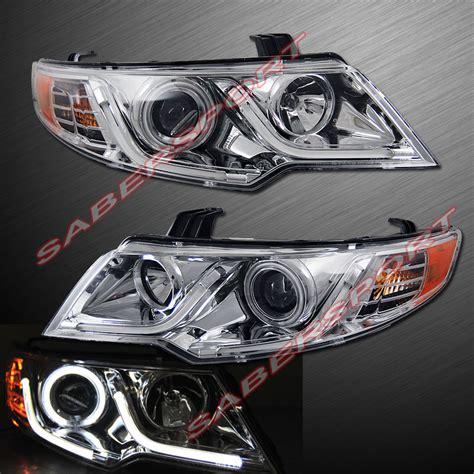 Kia Forte Koup Led Headlights Chrome Ccfl Halo Projector Headlights W Led Bar V2 For