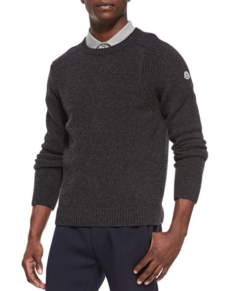knitted sweatshirt lyst moncler wool knit crewneck sweater in gray for