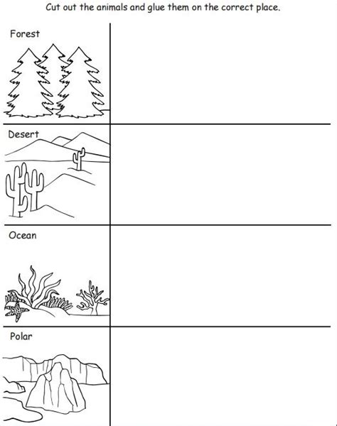 printable worksheets animal homes cut and paste animal habitat worksheet 1 austin