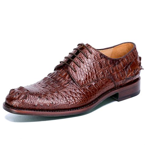 alligator shoes brown genuine crocodile leather shoes