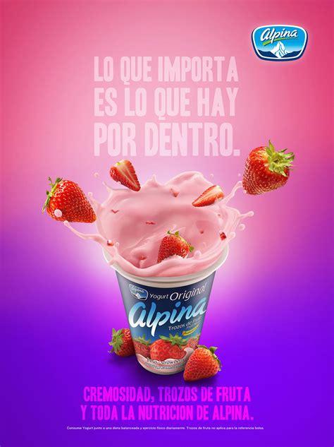 yogurt alpina fresa  behance creative poster design