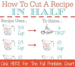Cooking Measurements In Half How To Cut A Recipe In Half Printable Kitchen Conversion