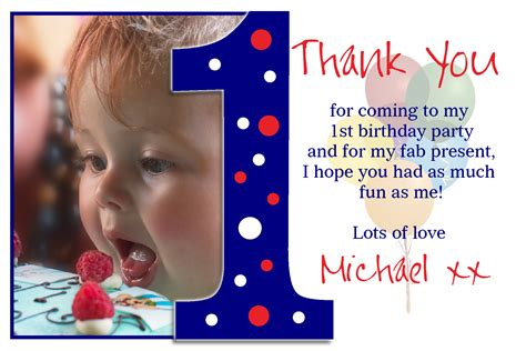 Thank You 1st Birthday Cards Personalised 1st First Birthday Thank You Thankyou Photo