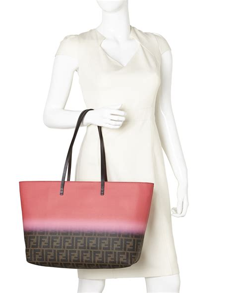 Roll Bag Pink lyst fendi zucca ombr 227 169 large roll tote in