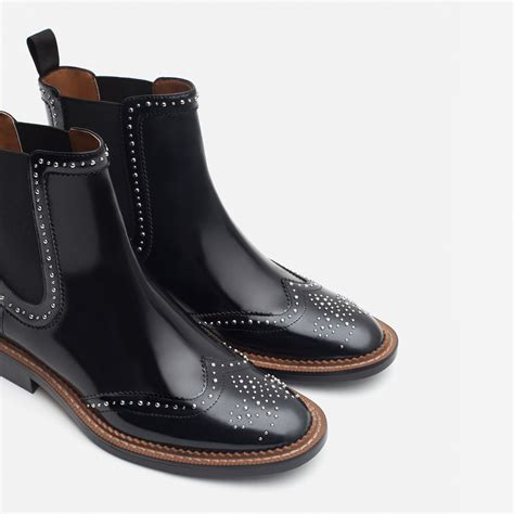 zara micro studded flat leather booties in black lyst