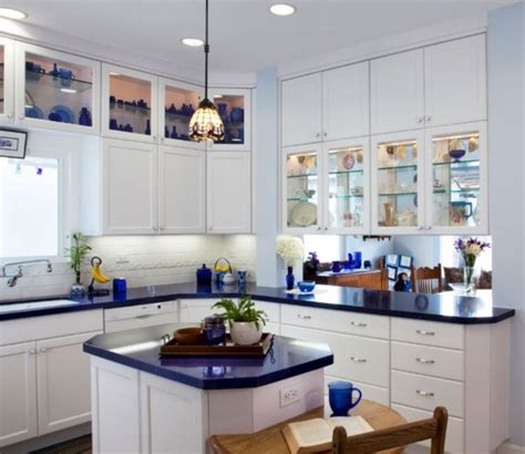 blue kitchen countertops on