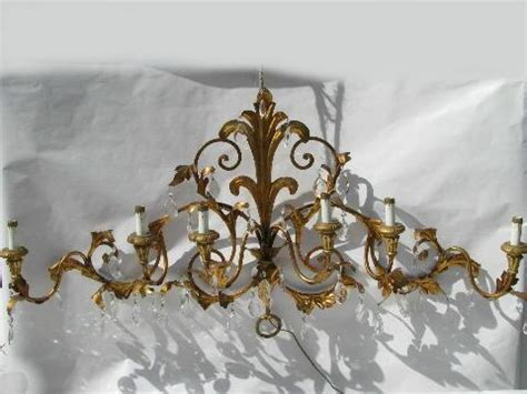 Iron Leaf Chandelier Huge Vintage Italian Tole Glass Prisms Wall Sconce Lamp