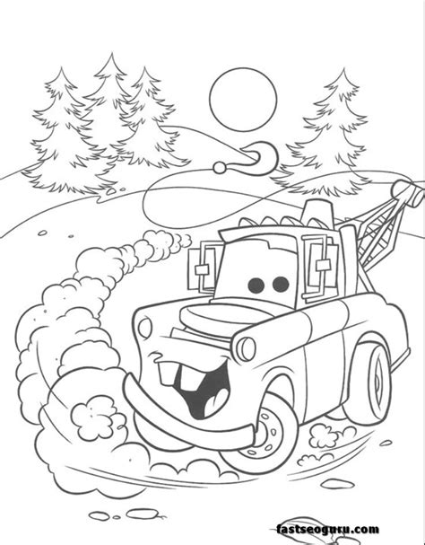 printable coloring pages of cars the movie tow mater car 2 movies coloring page print out