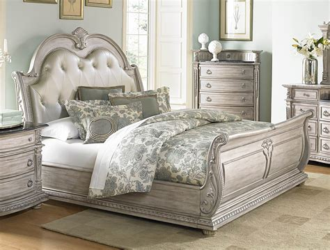 White Leather Sleigh Bed Palace Ii White Wash King Bonded Leather Sleigh Bed From Homelegance 1394kn 1ek Coleman
