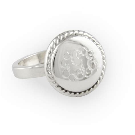 engraved sterling silver braided ring