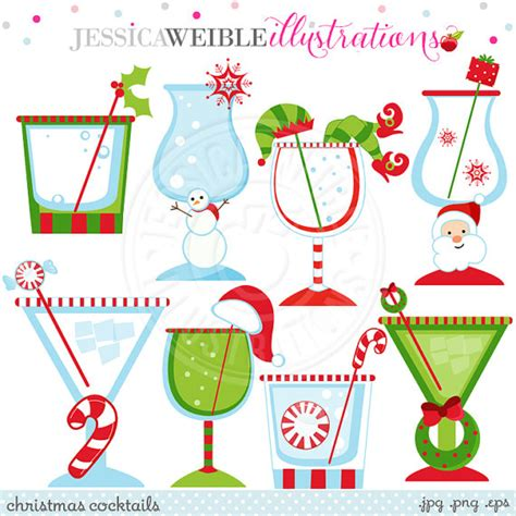 christmas cocktail party clipart christmas cocktails cute christmas digital clipart