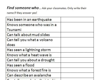 Tsunami Worksheets For Middle School by Disasters Find Someone Who