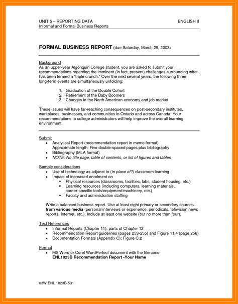 Environmental Report Writing by 5 Formal Recommendation Report Target Cashier