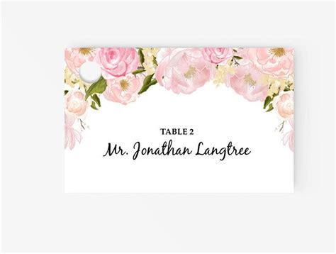 gold and pink flower cards template invitation printable place card template 2510701 weddbook