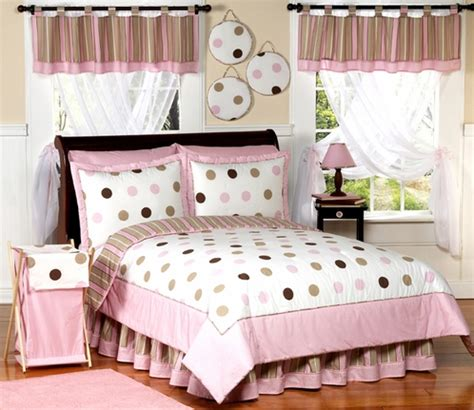 pink and brown modern dots teen bedding 3 pc full