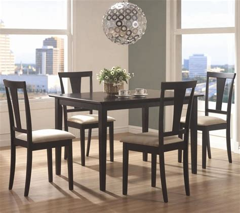 Round Table Geary Geary 5 Pc Dining Table Set In Black Finish Contemporary