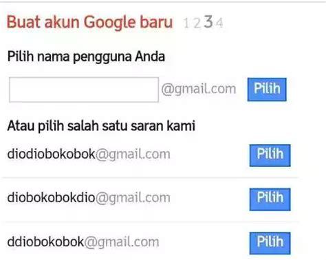 buat akun google baru gmail pilih nama pengguna