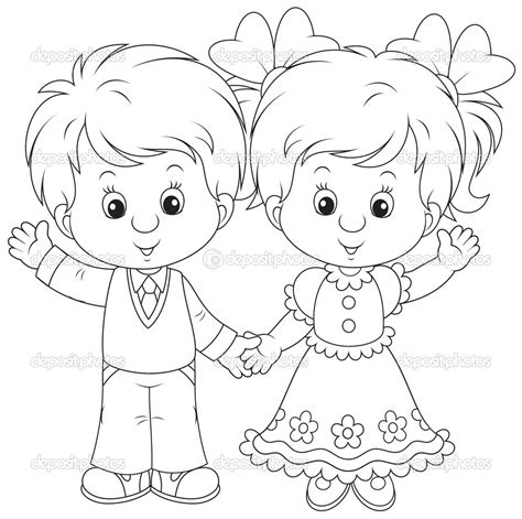 coloring page of a girl and boy boy and girl free coloring pages on art coloring pages