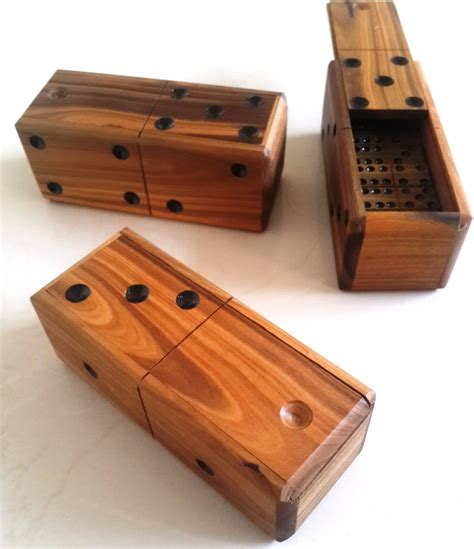 Handmade Dominoes Set - domino set wooden vintage top box dominoes