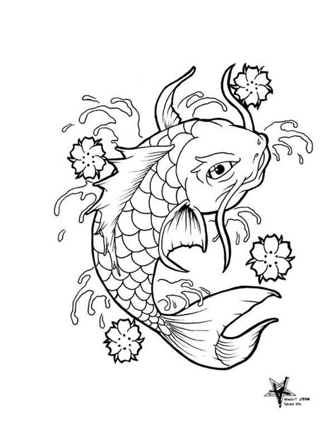Galerry koi fish drawing outline