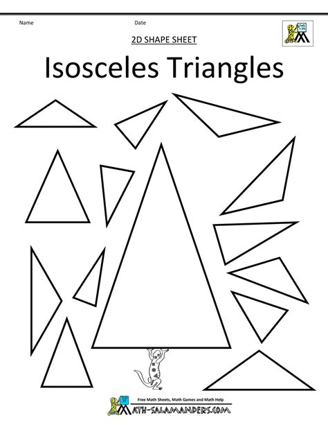 Isosceles And Equilateral Triangles Worksheet by Isosceles Triangle Worksheet Lesupercoin Printables