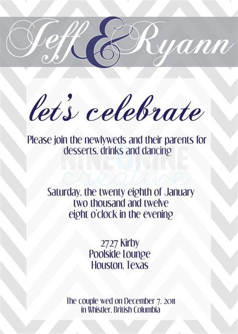 wedding reception invitation  nineoninecreative  etsy