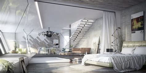 Modern Industrial Bedroom by Trendy Industrial Bedroom Design With Gray And White Color