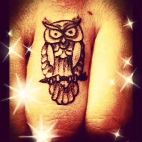 owl finger tattoo and simple owl on finger golfian