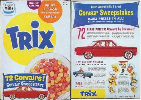 Cereal Sweepstakes - trix 1960 trix cereal box corvair sweepstakes