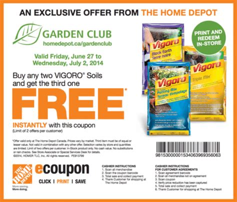 the home depot canada garden club coupons buy any two