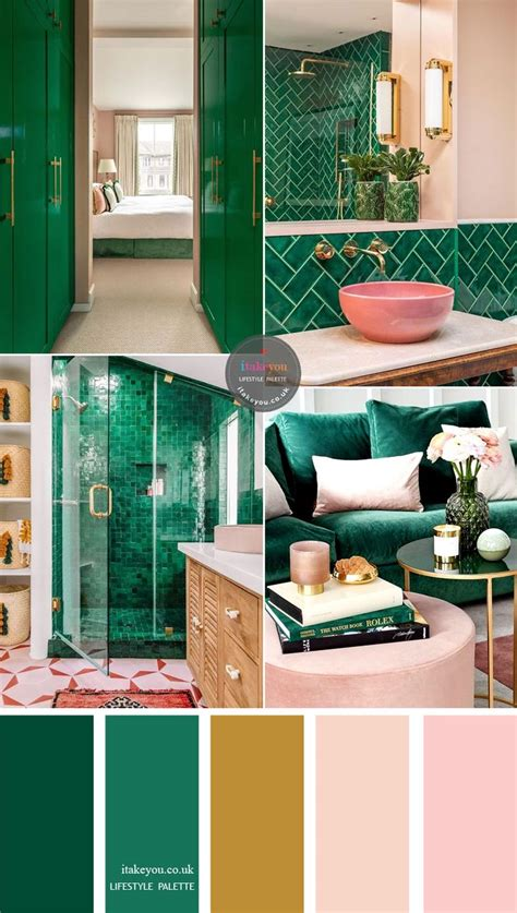 green emerald  pink  gold accents home color